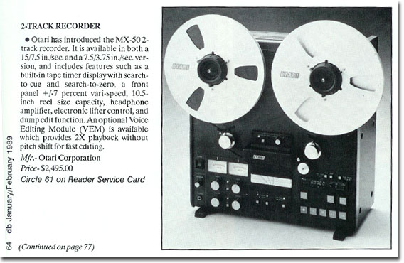 picture of Otari MX-50 reel tape recorder info from 1989