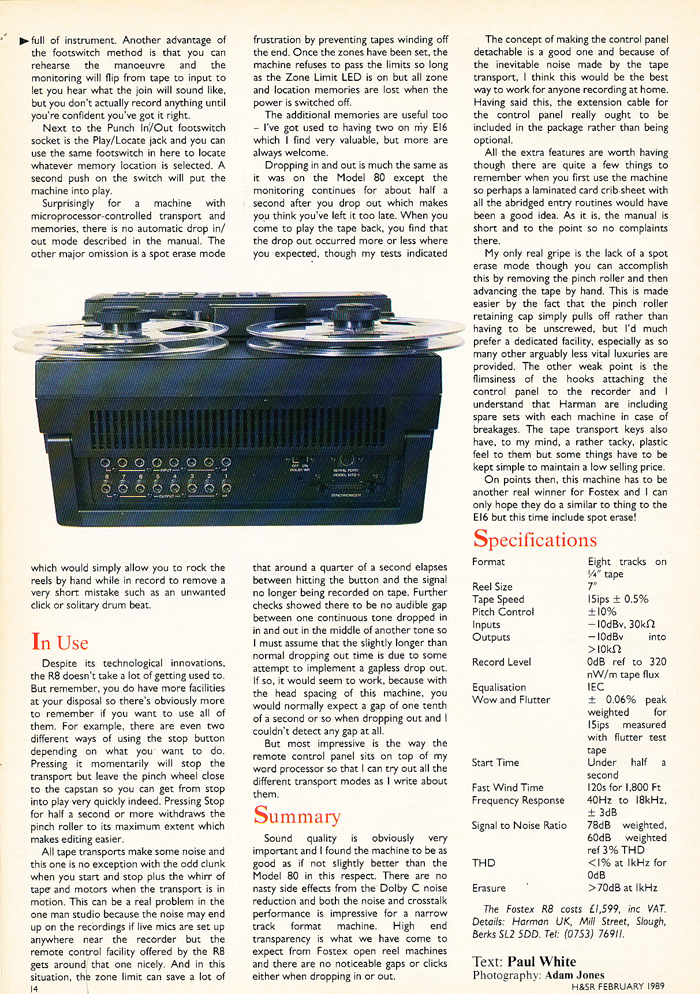 "1989 review of the Fostex R8 8 track 1/4"" reel to reel tape recorder in Reel2ReelTexas.com's vintage recording collection"