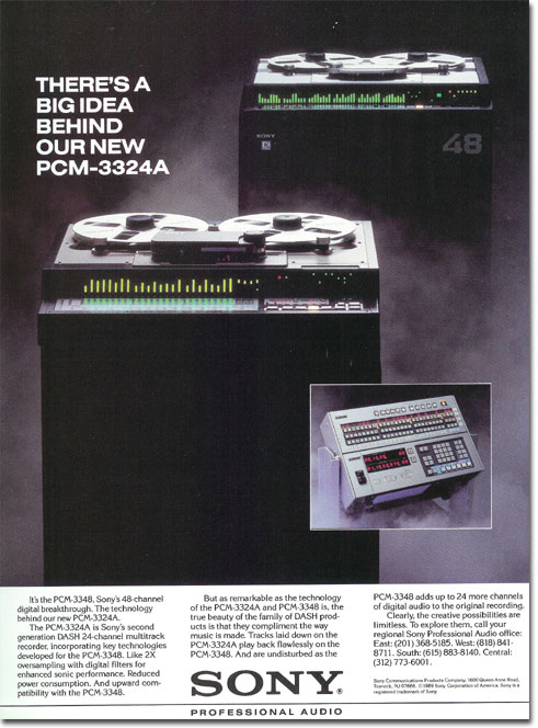 picture of Sony reel tape recorder ad from 1989