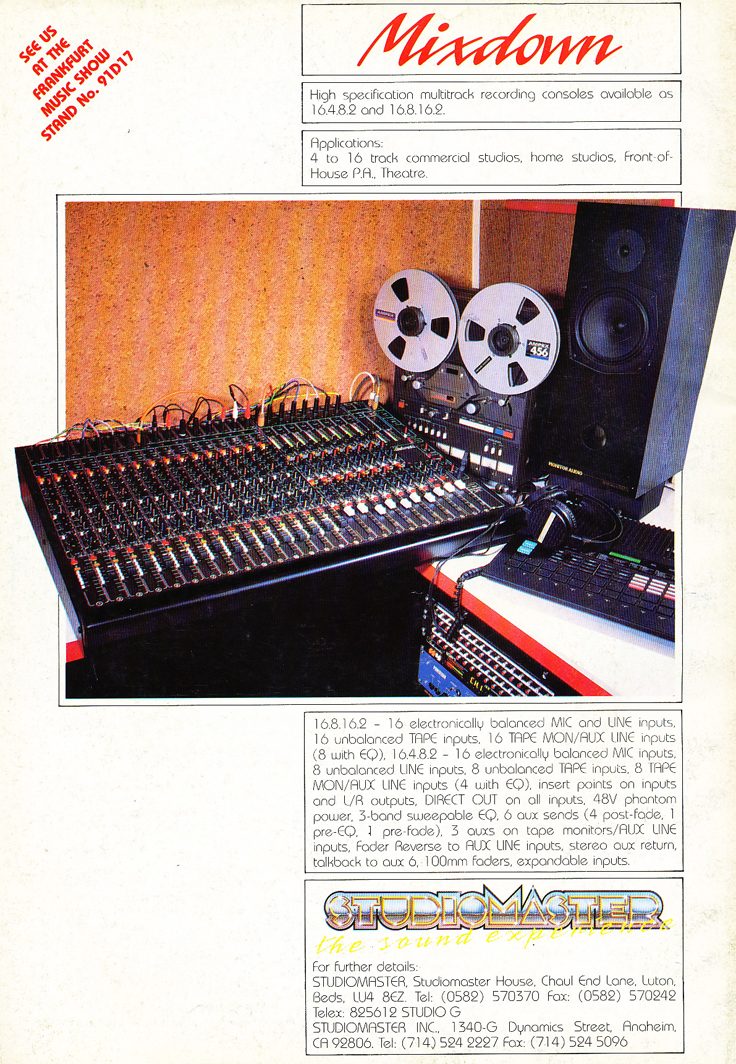 1989 ad for Studiomaster console in Reel2ReelTexas.com's vintage recording collection