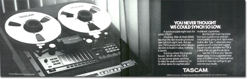 picture of Tascam reel tape recorder ad from 1989