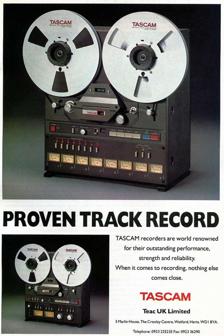 1989 ad for the Tascam 38 8 track reel to reel tape recorder in Reel2ReelTexas.com's vintage recording collection.
