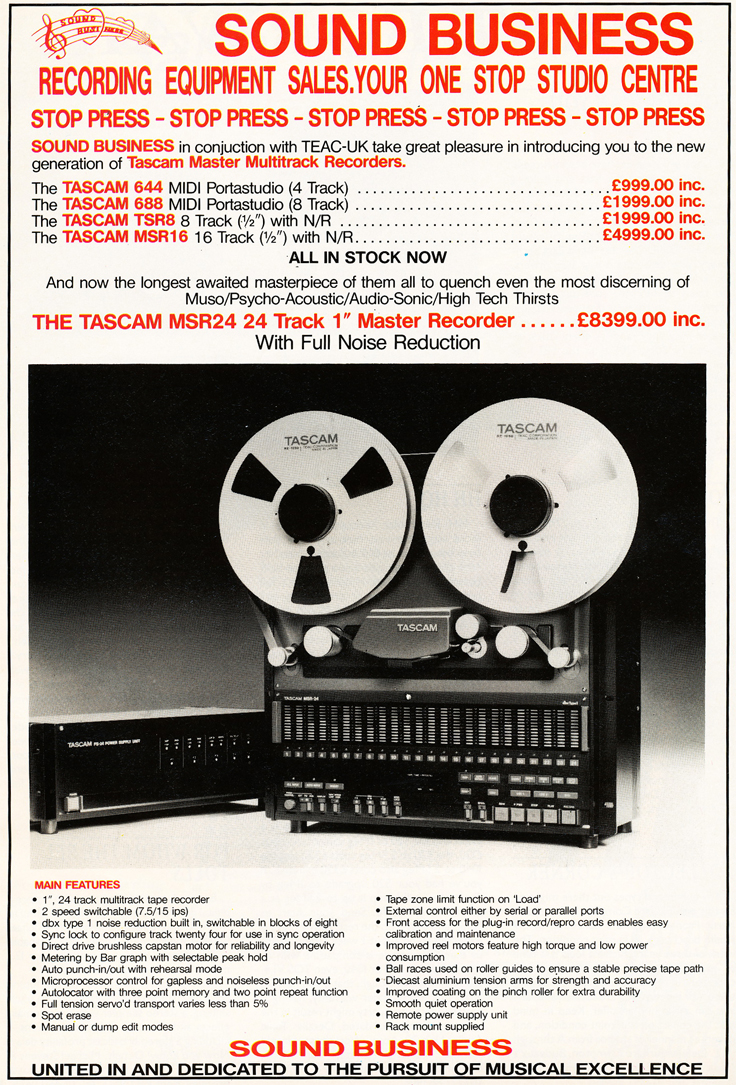 1989 ad for the Tascam MSR 24 professional 24 track reel to reel tape recorder in Reel2ReelTexas.com's vintage recording collection