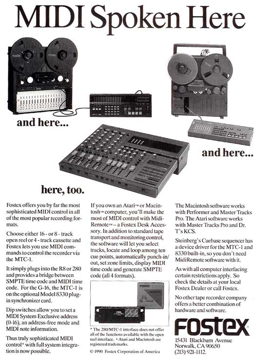 1991 ad for Fostex R8 and G16 ad in Reel2ReelTexas' vintage tape recorder collection