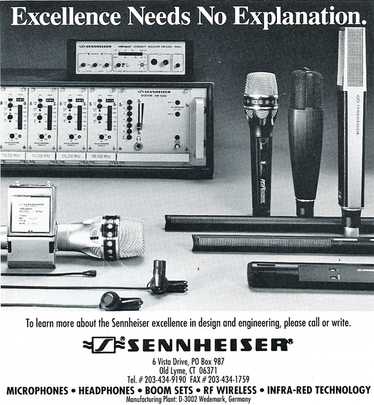 1991 ad for Sennheiser microphones in Reel2ReelTexas.com's vintage recording collection