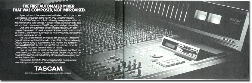 picture of Tascam digital mixer ad from 1991