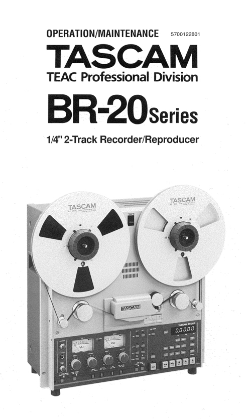 Tascam BR20 professional reel tape recorder manual in Reel2ReelTexas.com's vintage reel tape recorder collection