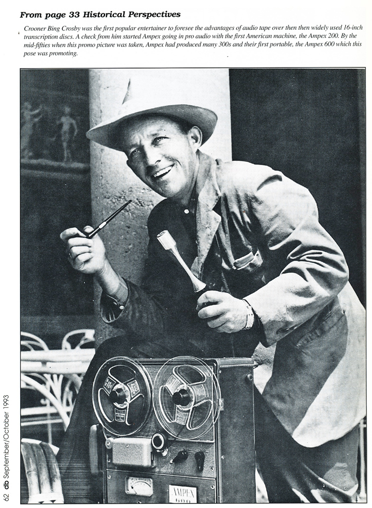 Mid 1950's picure of Bing crosby with the Ampex 600 reel to reel tape recorder in Reel2ReelTexas.com's vintage recording collection