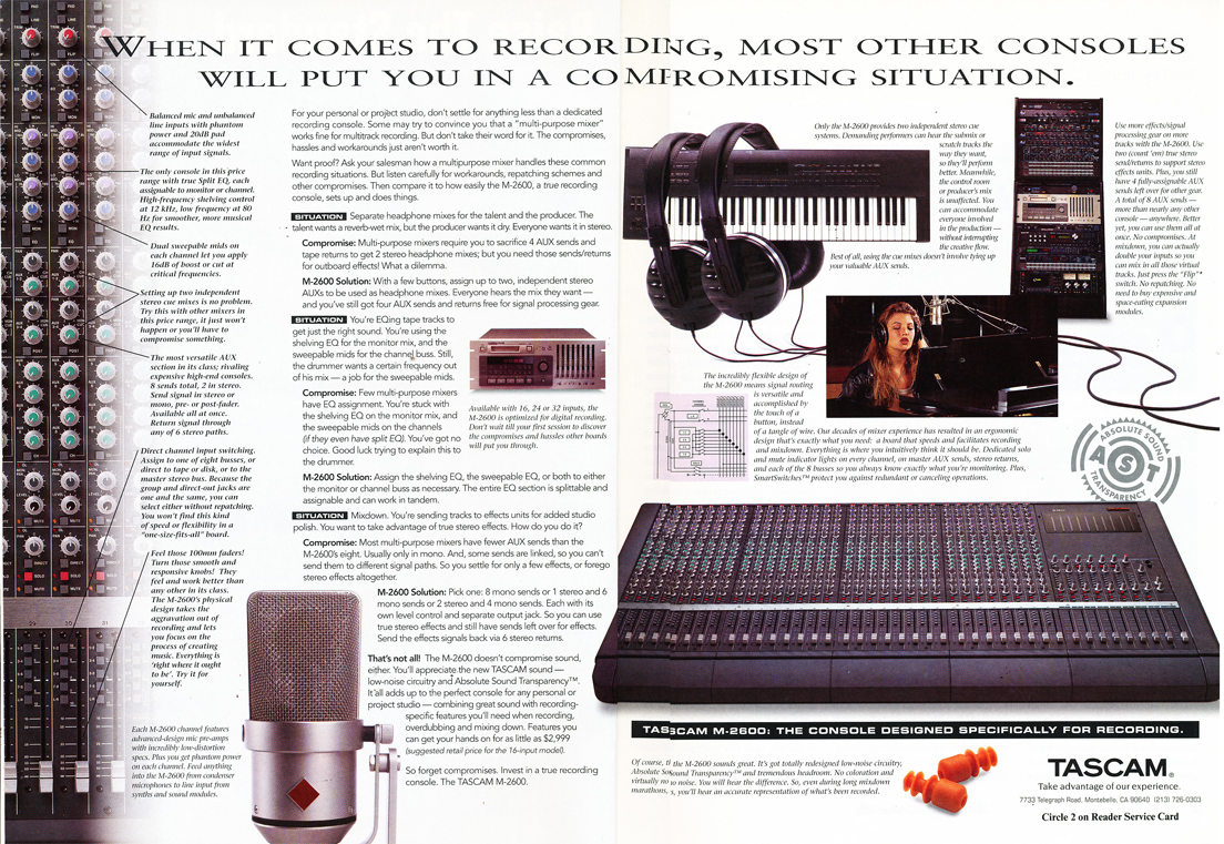 1994 Tascam ad in Reel2ReelTexas.com's vintage recording collection
