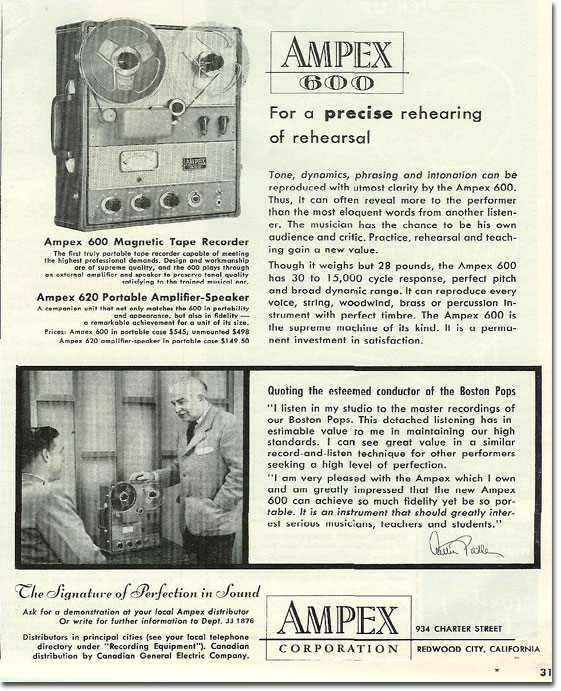 1955 Ampex ad for the Ampex 600 featuring Arthur Fiedler  in Reel2ReelTexas.com's vintage recording collection