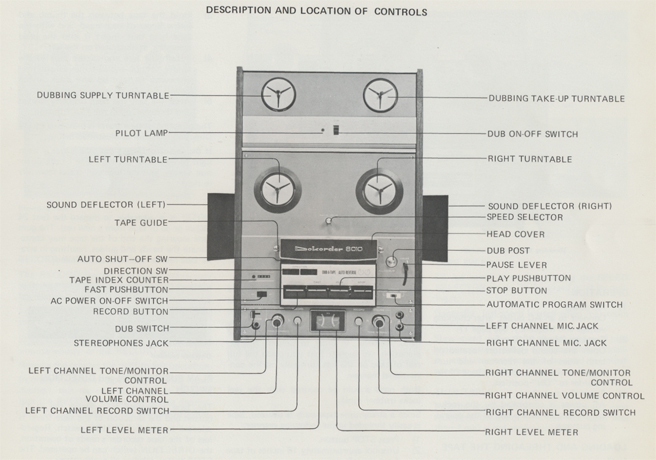 Dokorder 8020 Owners manual controls in Reel2ReelTexas.com vintage reel to reel tape recorder collection