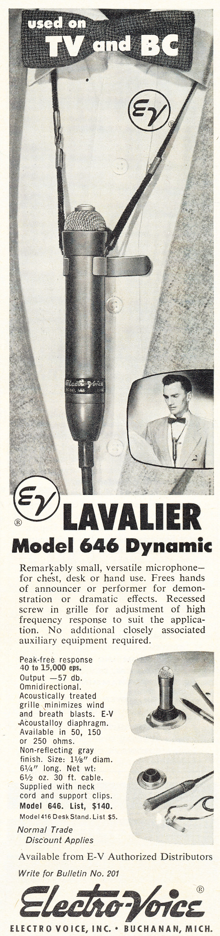 1955 ad for the Electro Voice 646 microphone in Phantom Productions' vintage tape recording collection