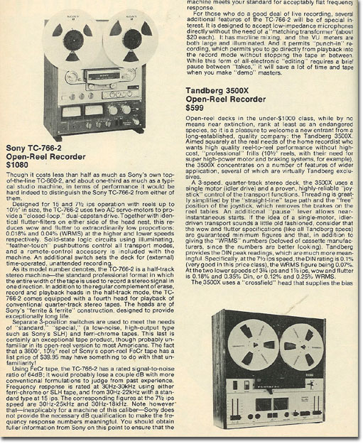 picture of 1978 reviews of Sony & Tandberg recorders