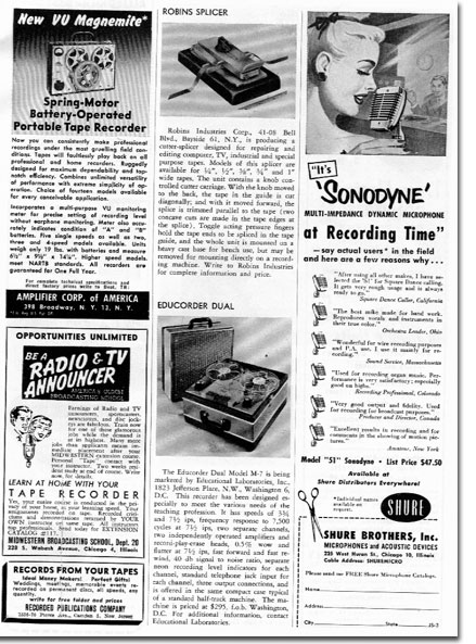 picture of ads in 1955 tape Recording magazine