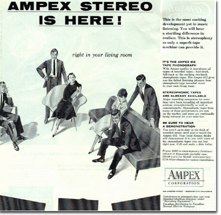 1955 Ampex Stereo Arrives ad in Reel2ReelTexas.com's vintage recording collection