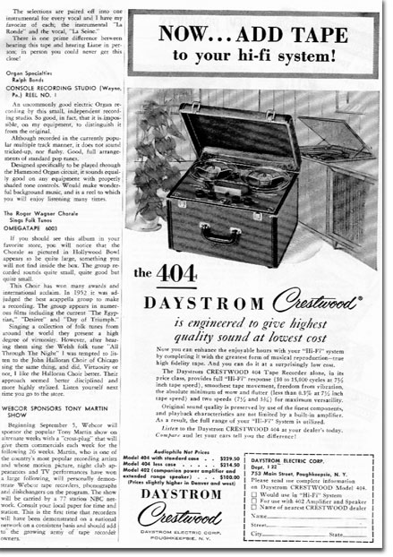 picture of Daystrom Ad in 1955 tape Recording magazine