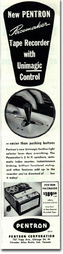 picture of 1955 Pentron reel to reel tape recorder ad