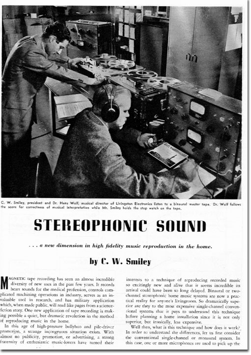 picture of Stereo story in 1955 tape Recording magazine