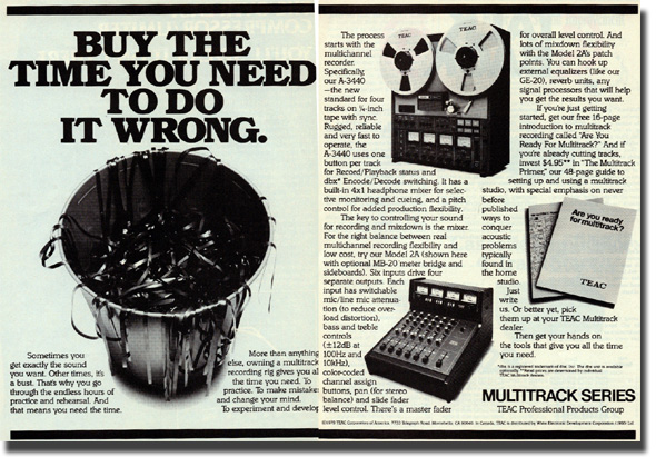 picture of Teac ad showing the 3440 and Model 2 mixer with meter bridge
