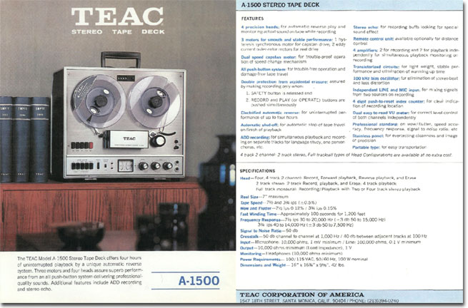 picture of Teac 1500 brochure