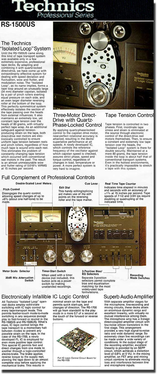 picture of information on technics Professional series recorders
