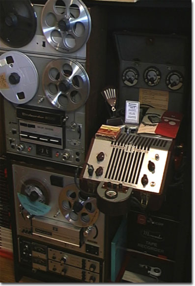 picture of Dokorder reel tape recorders and a Webster Chicago 180-1 wire recorder