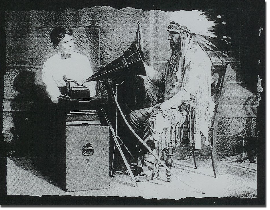 picture showing Edison cylinder recorder being used to document American Indians
