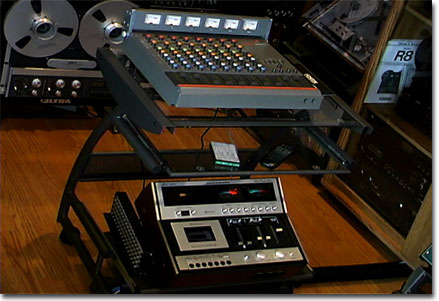 picture of Fostex 350 8 channel audio microphone mixer with Marantz 5420 mixer and cassette recorder