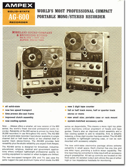 picture of Ampex 600 brochure