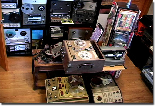 picture of various tape recorders in Phantom museum