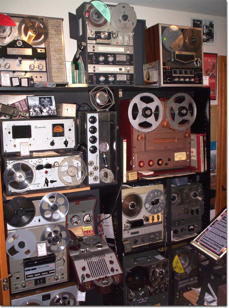 picture of North wall of Phantom's vintage reel tape recording museum