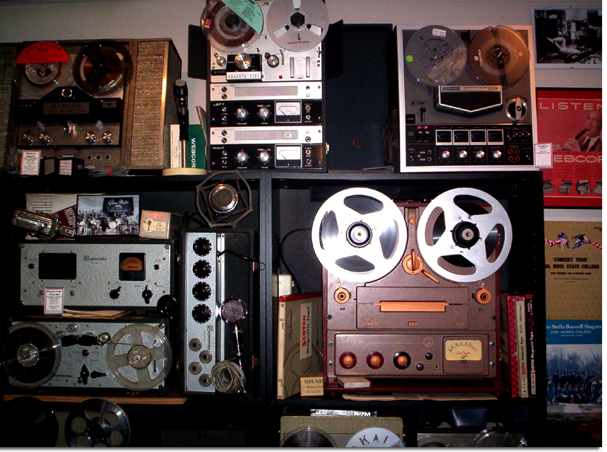 picture of N wall of Phantom's vintage reel tape recording museum