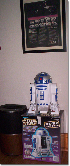 picture of R2D2 Replica (complete with sounds.  Teac 80-8 was used to record te sounds of R2Dr and 3CPOin the Star Wars movie