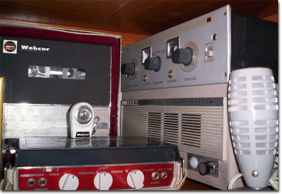 "picture of Webcor 5"" reel portable tape recorder in the Phantom Production's vintage museum"
