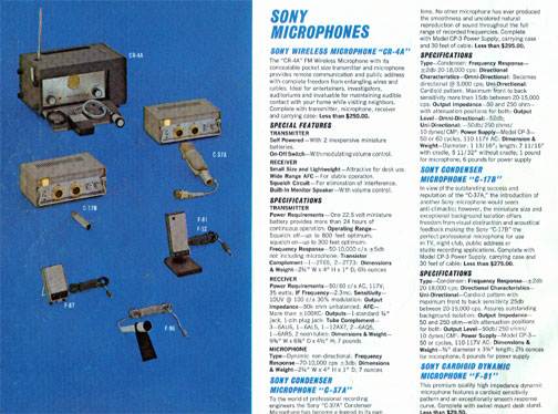 picture of 1962 Sony microphones Brochure ad