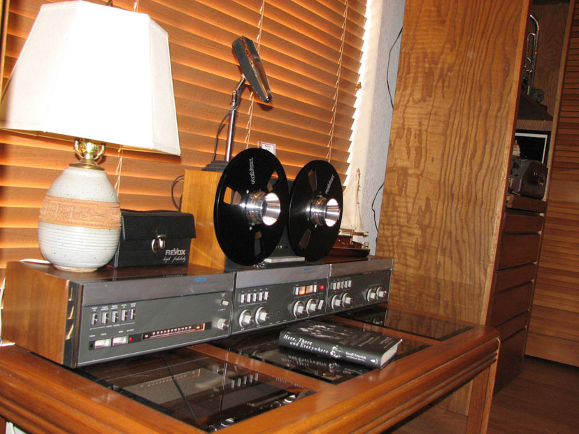 Revox A77 tape recorder (including the unique microphone and remote control)with the A78 and A76 tuner and amplifier in the Reel2ReelTexas.com vintage recording collection