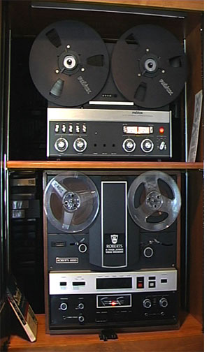 picture of the ReVox A77 and the Roberts 1000 audio and black and white video recorder combination