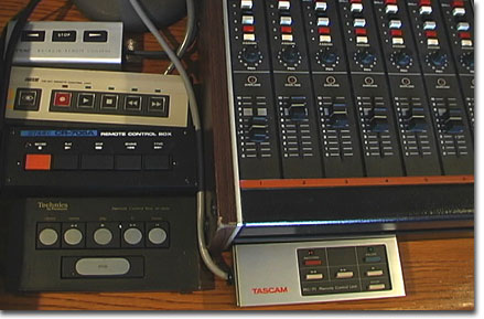 picture of Teac remote control with other remotes