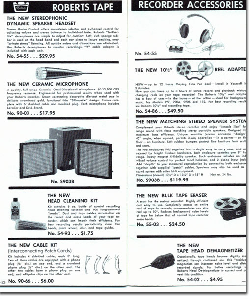 Roberts reel tape recorder catalog from 1961 in the Reel2ReelTexas.com's vintage recording collection