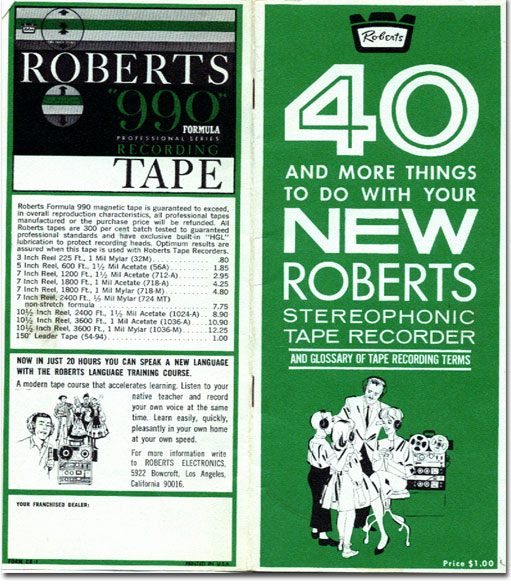 picture of Roberts reel tape recorder catalog from 1961