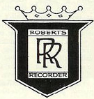 Rolls Royce style logo used on early Roberts reel tape recorders