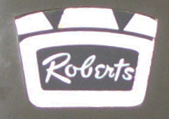 "Roberts ""Roberts"" script style crown logo on reel tape recorder in   Phantom Productions vintage tape recorder collection"