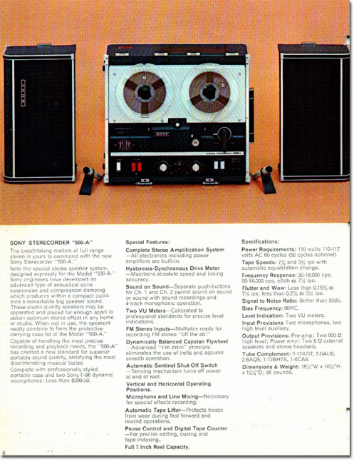 picture of Ad for the Sony 500A tape recorder