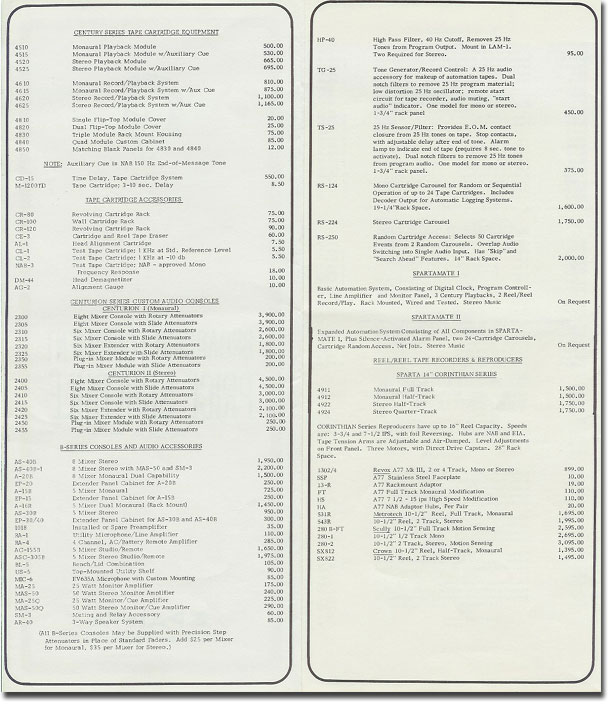 1974 Sparta Electronics price list in Reel2ReelTexas.com's vintage recording collection