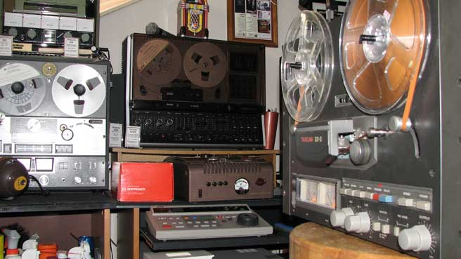 Tascam 22-2 15 ips half track mastering deck in Phantom Production, Inc.s vintage recording museum