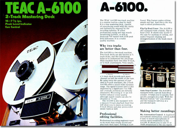1972 ad for the Teac A-6100 reel to reel tape recorder in the Reel2ReelTexas.com vintage recording collection
