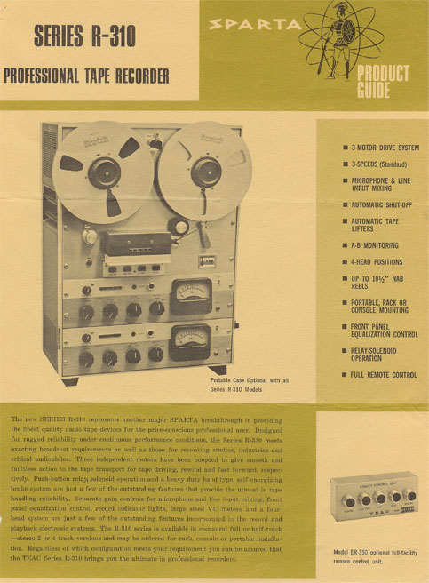 picture from Sparta Radio equipment catalog  of Teac's R 310 reel to reel recorder brochure in Phantom's collection
