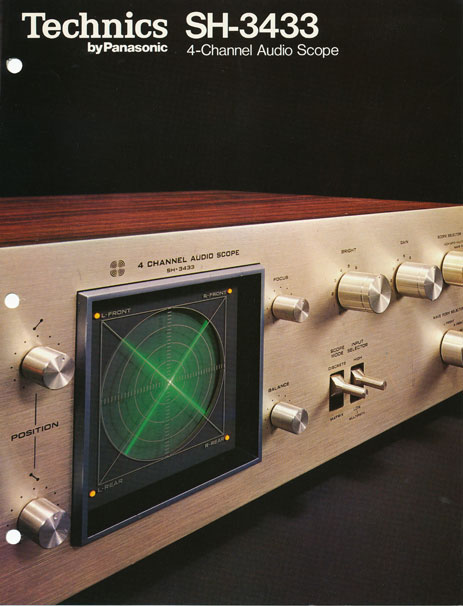 Brochure page 1 of Technics SH 3433 4 channel audio scope in   Phantom Productions vintage recording collection