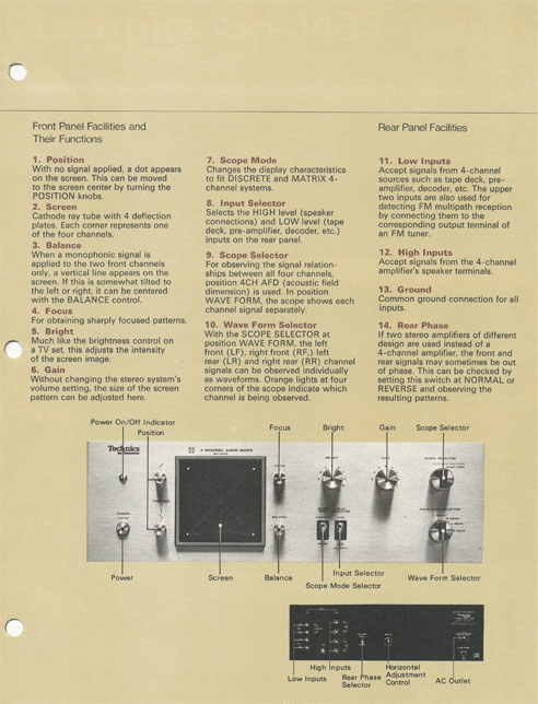 Brochure page 3 of Technics SH 3433 4 channel audio scope in   Phantom Productions vintage recording collection