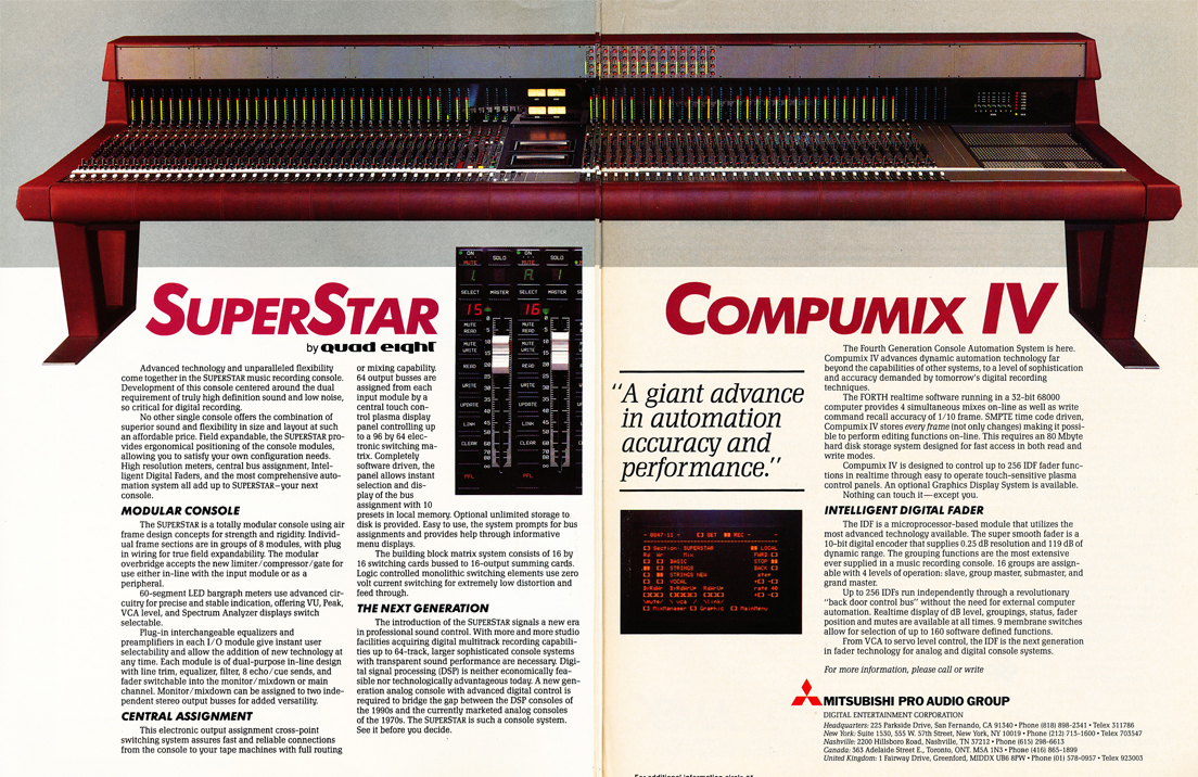 1986 ad for the Mitsubishi Super Star recording console in Reel2ReelTexas' vintage recording collection